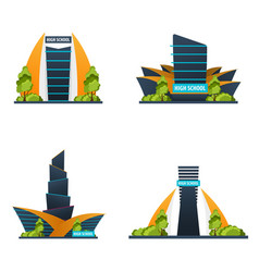 Set of high school modern building in flat style vector