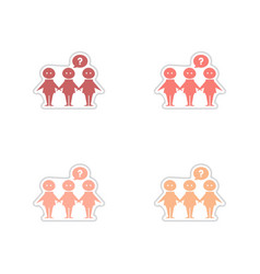 Set of paper stickers on white background people vector