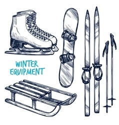 Sketch Winter Sport Objects vector image