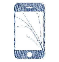 Smartphone screen cracks fabric textured icon vector