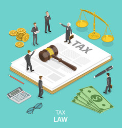 Tax law flat isometric concept vector
