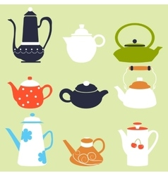 Tea coffee season autumn winter kettle set vector