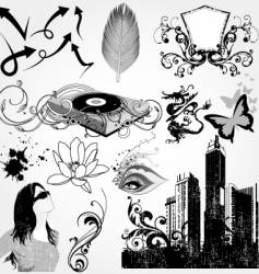 urban elements set vector image vector image