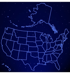 Usa map on starry sky vector