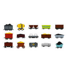 Wagon icon set flat style vector