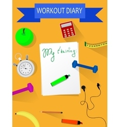 Workout and fitness dieting copy space diary vector