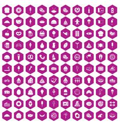 100 calories icons hexagon violet vector