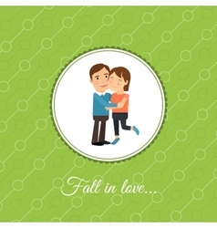 Happy couple in love card vector image