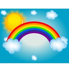 cloud sun rainbow background vector image
