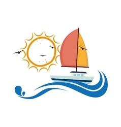 sailboat maritime emblem icon vector image