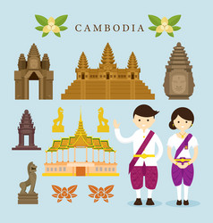Cambodia landmarks and objects design elements vector