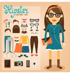 Hipster character pack for geek girl vector image