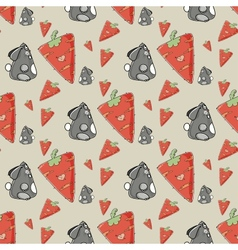 Seamless pattern the cute rabbit with carrot vector