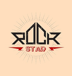 Rock star - orirginal lettering with lightnings vector