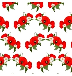 Seamless pattern with chamomile and poppies vector