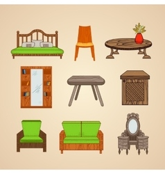 A set of furniture in different styles vector