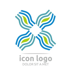 Logo icon leaf wave square design symbol abstract vector
