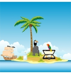 Island in ocean and money vector