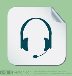 Customer support headphone icon vector