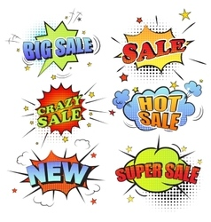 Set of pop art comic sale discount promotion vector