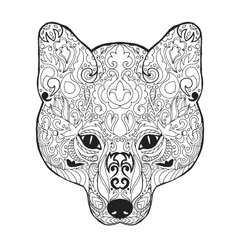 Zentangle stylized fox head sketch for tattoo or vector