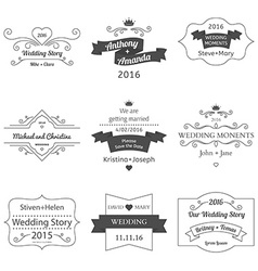 Set of wedding labels and insignias vector