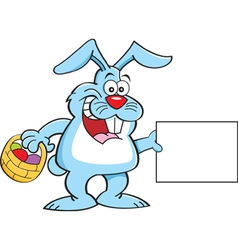Cartoon easter bunny holding a sign vector