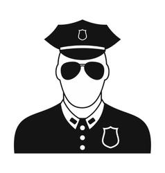 Policeman black plain icon vector image