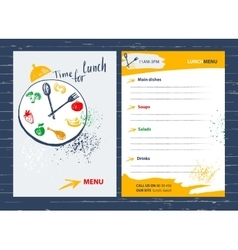 Time for lunch menu design element for cafe vector