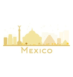 Mexico city skyline golden silhouette vector
