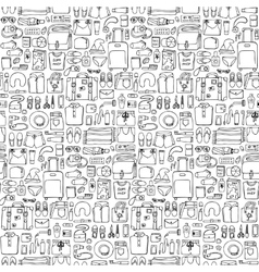 Man and Woman Travel Doodle Seamless Pattern vector image