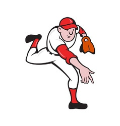 Baseball player pitcher throwing cartoon vector