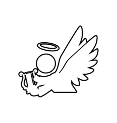 angel silhouette fairy wing heaven icon vector image