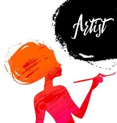 Beautiful artist girl silhouette splash paint vector