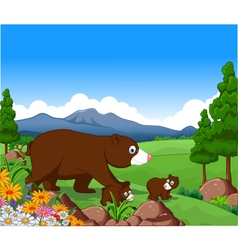 brown bear cartoon in the jungle vector image vector image