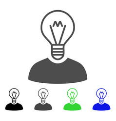 Bulb inventor flat icon vector