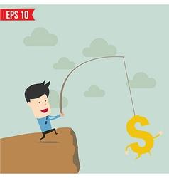 Businessman fishing money concept vector
