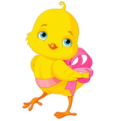 Chick with bow vector