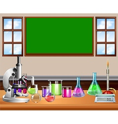 Classroom full of science equipment vector image vector image