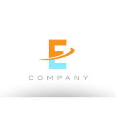 E orange blue logo icon alphabet design vector