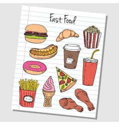 Fast food doodles lined paper colored vector