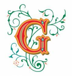 floral letter g vector image vector image