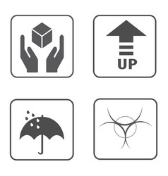 fragile symbol and packing box icon vector image