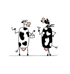 Funny cows on the party sketch for your design vector