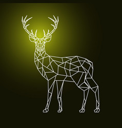 Geometric polygonal deer on dark background vector
