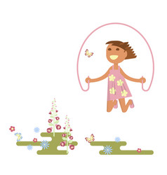 girl with skipping rope vector image