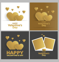 Golden greeting card happy valentines day set vector