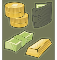 Green icons with money vector image