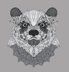 Hand-drawn doodle bear portrait with carnival mask vector