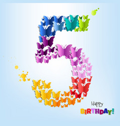 happy birthday five years postcard vector image vector image